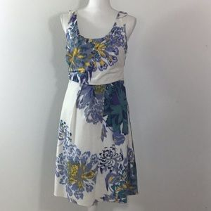 Tahari Fit & Flare Abstract Floral Dress Size 10